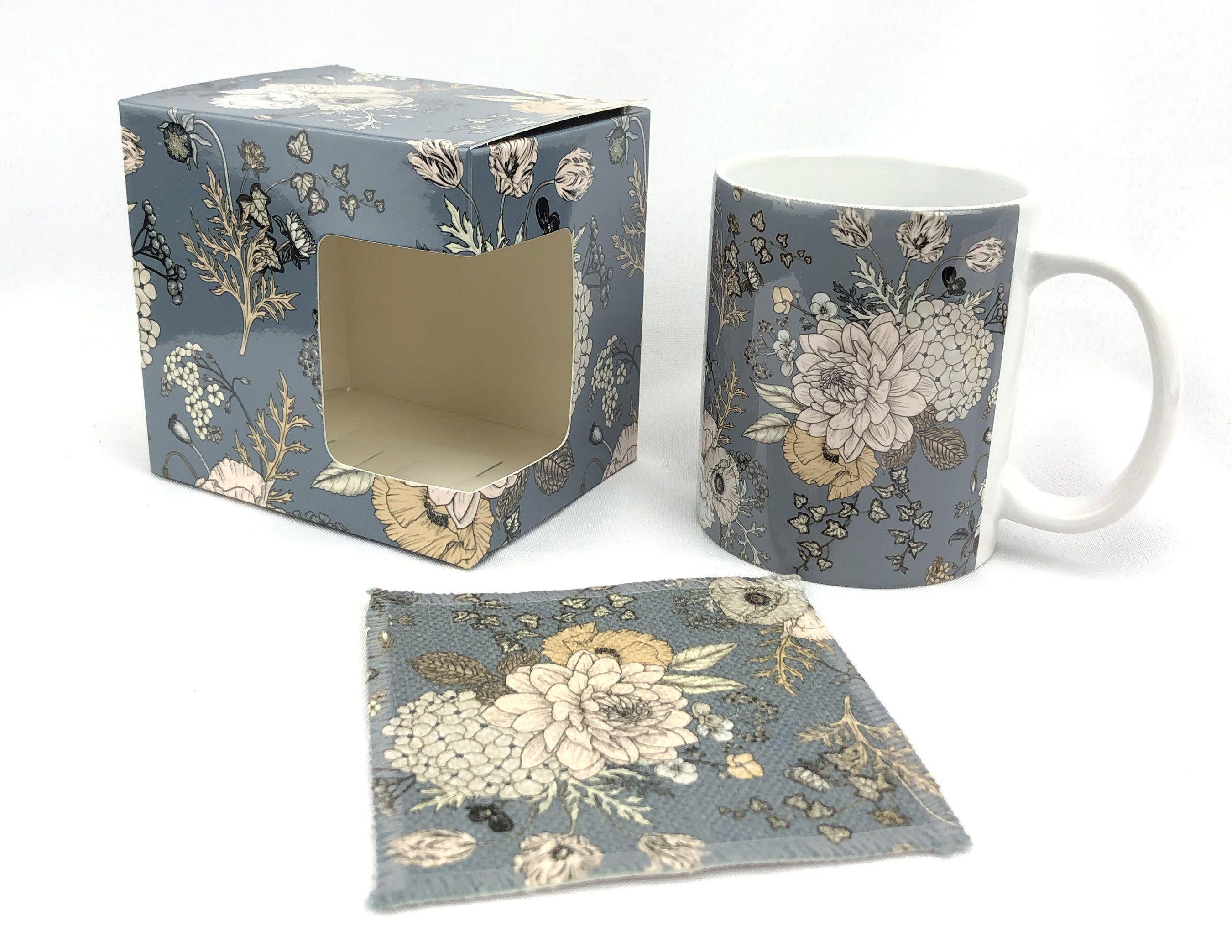 Floral Ceramic 11 oz. Coffee Mug, Gift Box & Coaster