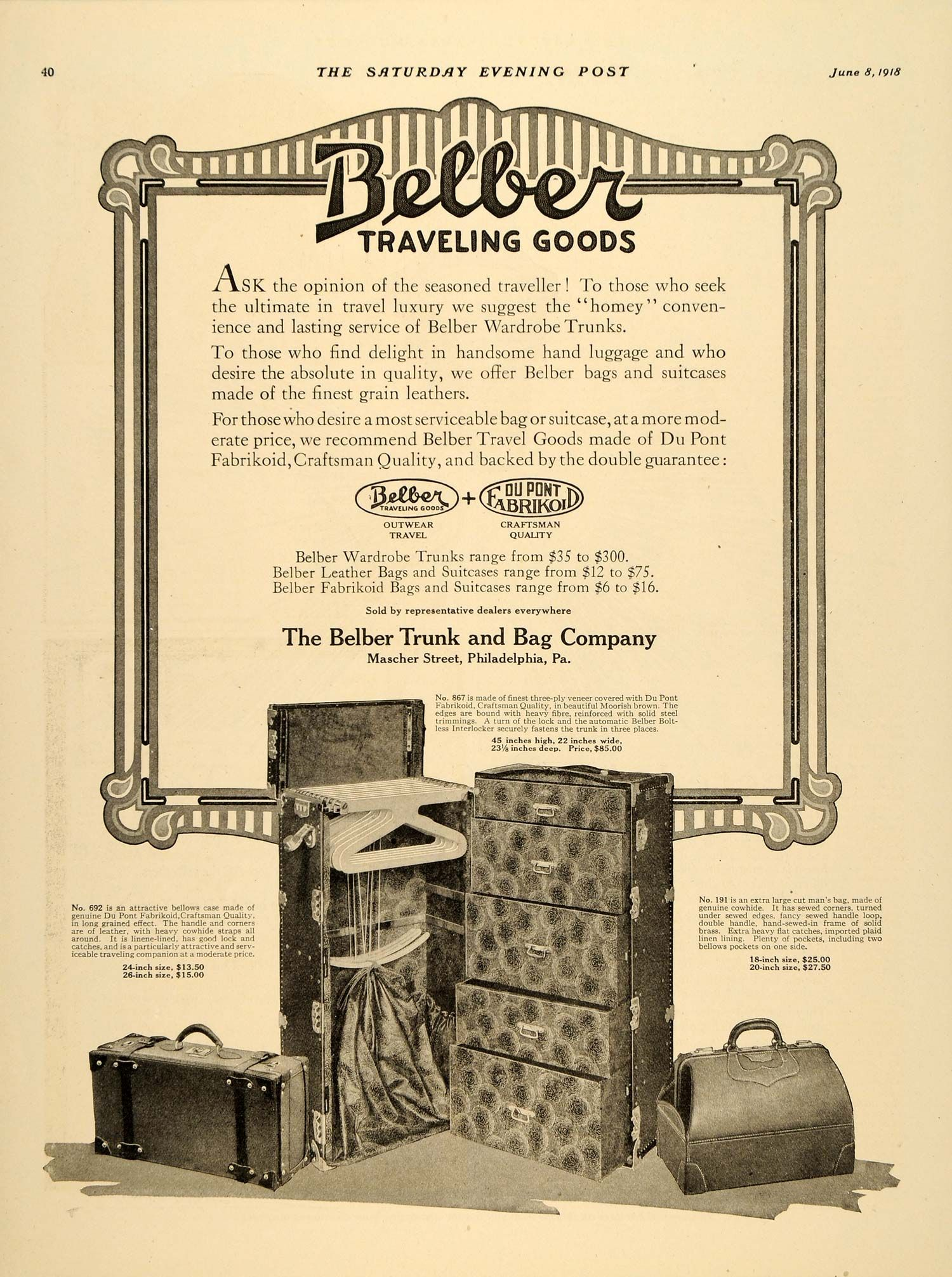 1918 Ad Belber Trunk Luggage Du Pont Fabrikoid Models