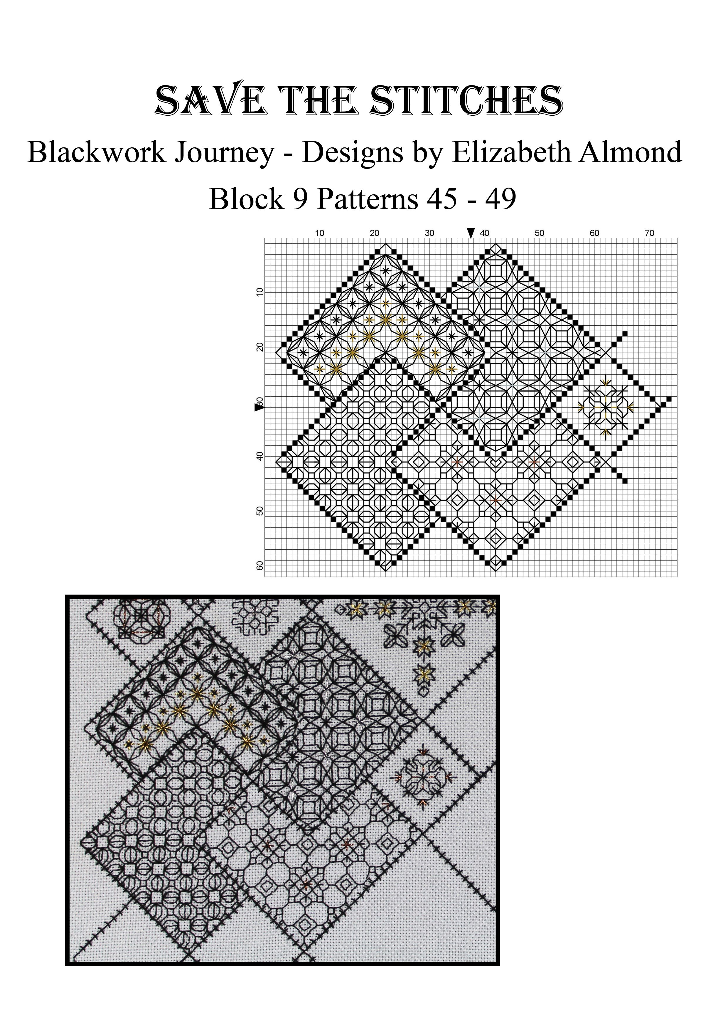 Block 9 \'Save the Stitches\' Free project from Blackwork Journey www ...
