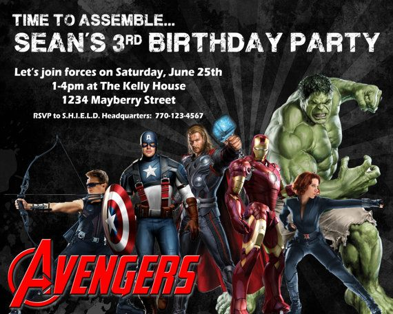 Avengers Birthday Invitation Design