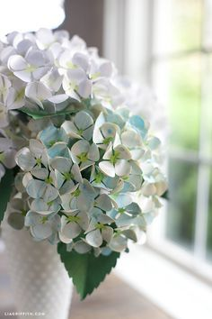 Diy paper hydrangea flowers pinterest hydrangea flower and diy diy painted paper hydrangea the thing i love about hydrangeas real or paper is that each lush head takes a lot of space both physically and visually mightylinksfo