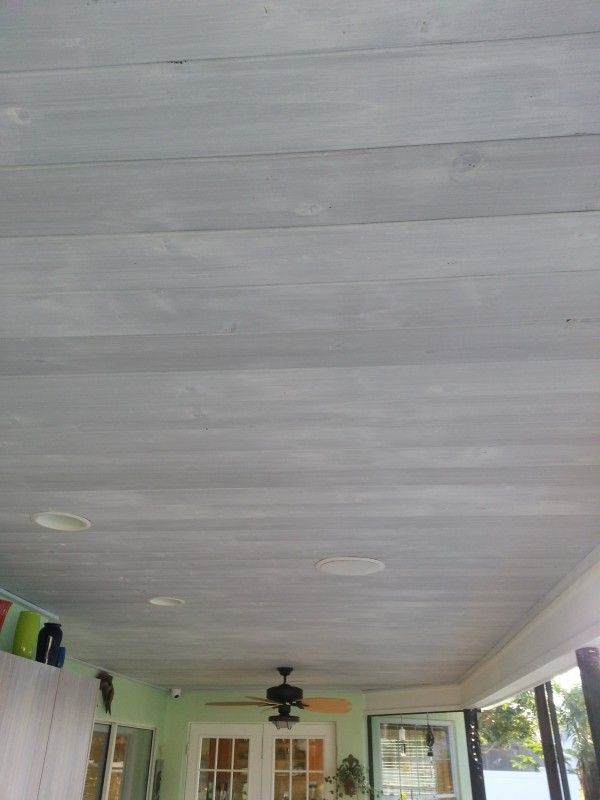 Whitewashed Wood Ceiling Over Gray Stain, DIY