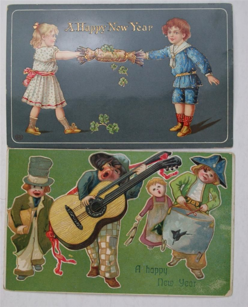 Lot Five 1900s 1910s Happy New Year Postcards Children | eBay