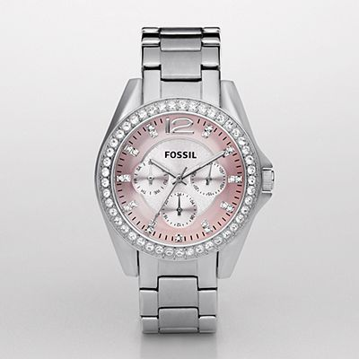 Fossil Watch. I love the pink face with the silver band ...
