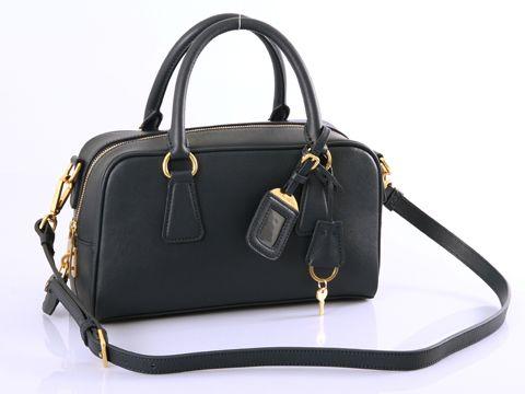 4b4dd7075ddb Prada BL0758 Saffiano Leather Black Handbags   bags   Prada handbags ...
