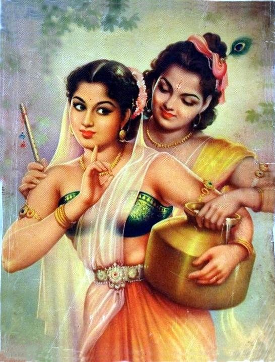 radha and krishna romantic prints vinate indian lithograph hare