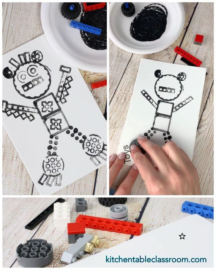 Printmaking with Legos- a Simple Lego Craft - The Kitchen Table Classroom, a Lego robot with this simple Lego craft. Grab your Legos and paint for this fun and simple printmaking project....