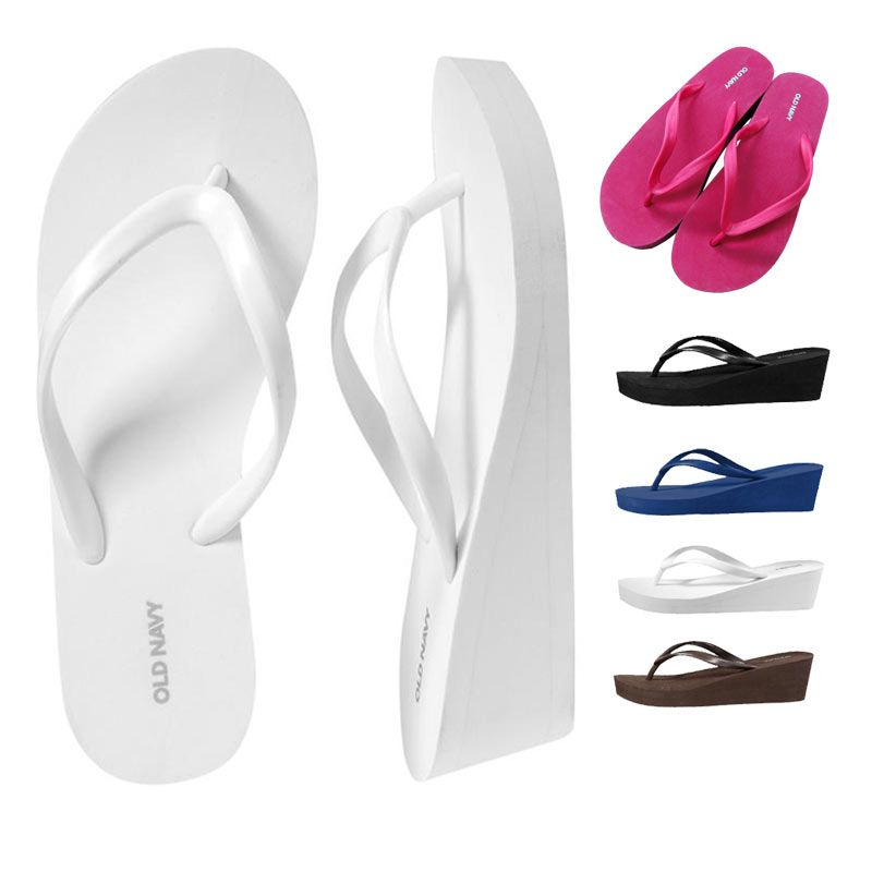 8e32b0aa5c5d5e Sale Oldnavy platform flip flops shoes Women plus size high heel wedges flip  slippers beach slippers slip-resistant