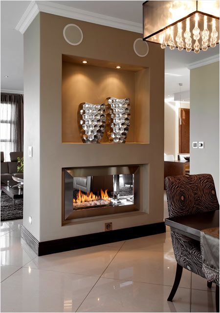 27 Gorgeous Modern Living Room Designs For Your Inspiration: 27+ Gorgeous Double Sided Fireplace Design Ideas, Take A