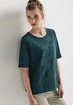 Sudadera-camiseta bordada Verde esmeralda