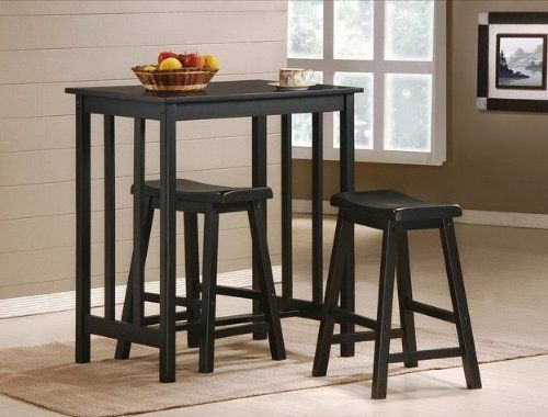 3 Piece Black Finish Table Saddle Bar Stool Set By The Furniture Cove Http