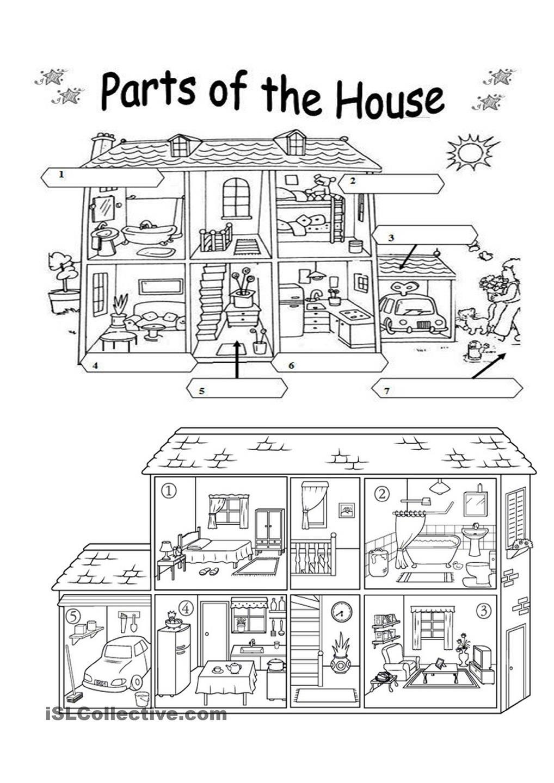 Coloring grammar worksheets - Parts Of The House Worksheet Free Esl Printable Worksheets Made By Teachers