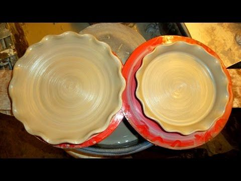 Making / Throwing a couple of simple pottery pie plates and flan dishes with a fluted scalloped edge on the wheel. Both similar being that the clay is center...
