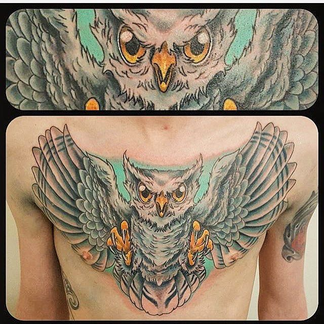 Kristenmakestattoos I Really Like The Muted Colors: A New School Owl By George. The Turquoise Really Makes