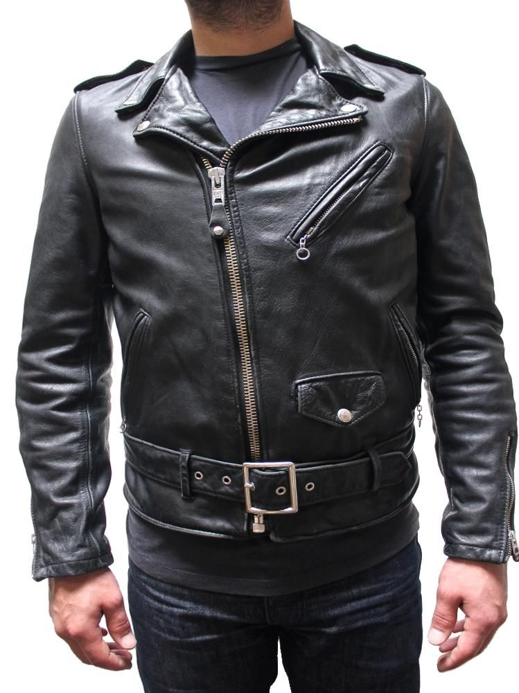 Schott Vintaged Fitted Men S Cowhide Leather Motorcycle Jacket Black 626vn Leather Motorcycle Jacket Leather Jacket Men Leather Jacket