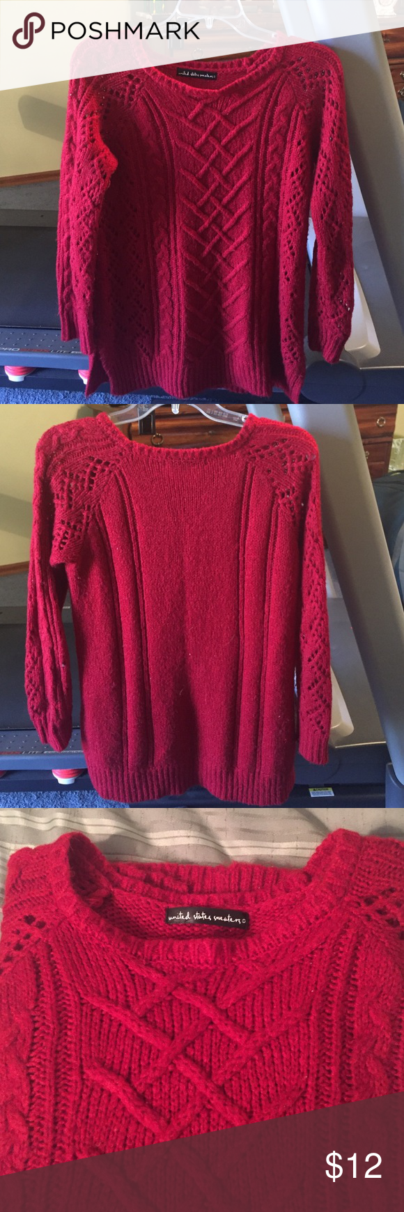 Red sweater Soft and warm , tunic length sweater. Bought from Boutique united states sweaters Sweaters Crew & Scoop Necks