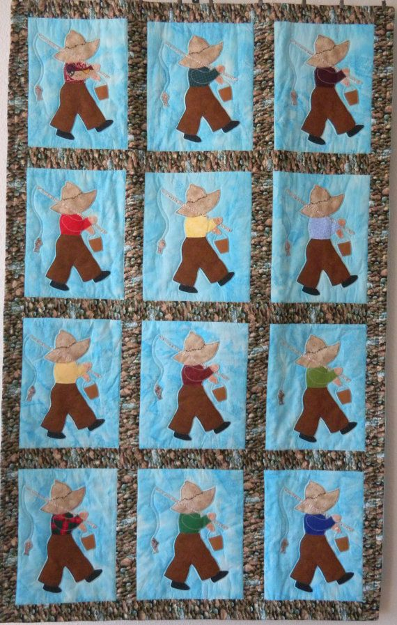 Fishing Fred Baby Quilt by Codysquilts on Etsy, $95.00**ENTER OUR GIVEAWAY ON FACEBOOK**