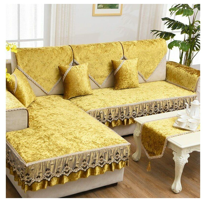 Cushions On L Shape Sofa Pu Leather L Shape Sofa Cushion Short Plush Non Slip Sofa Cover Lace Sofa Towel In 2020 Diy Sofa Cover Sofa Covers Sofa Fabric Upholstery