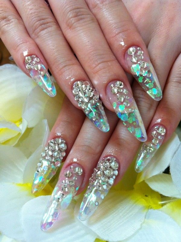 Pink Glitter Acrylic Nail Designs Clear Acrylic Nails With