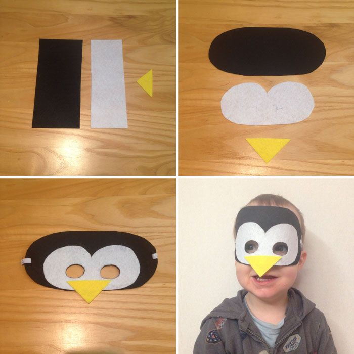 Diy tuto masque feutrine pingouin wishlists enfants pinterest - Coloriage masque pingouin ...