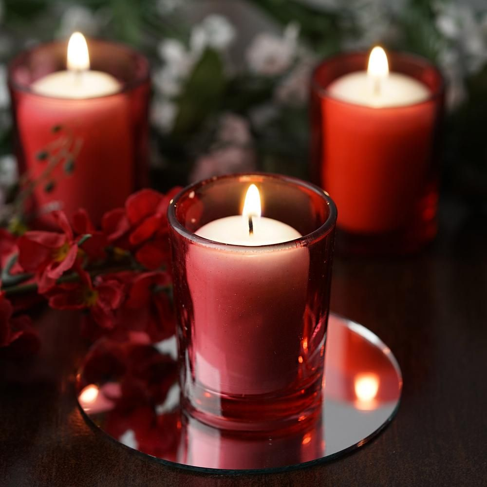 12 Pack White Votive Candles With Red Votive Holder Set White Votive Candles Red Votive Candles Tea Lights