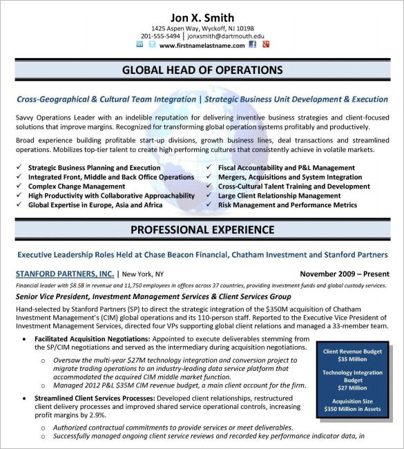 executive resume templates free samples examples amp formats - p & l template