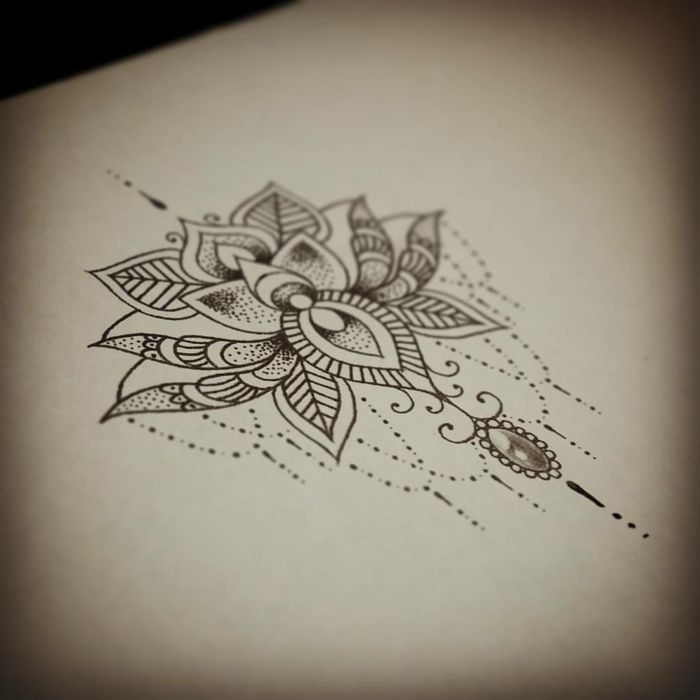 Extrêmement Tatouage de Femme : Tatouage Fleur de lotus Noir et gris sur  ML17
