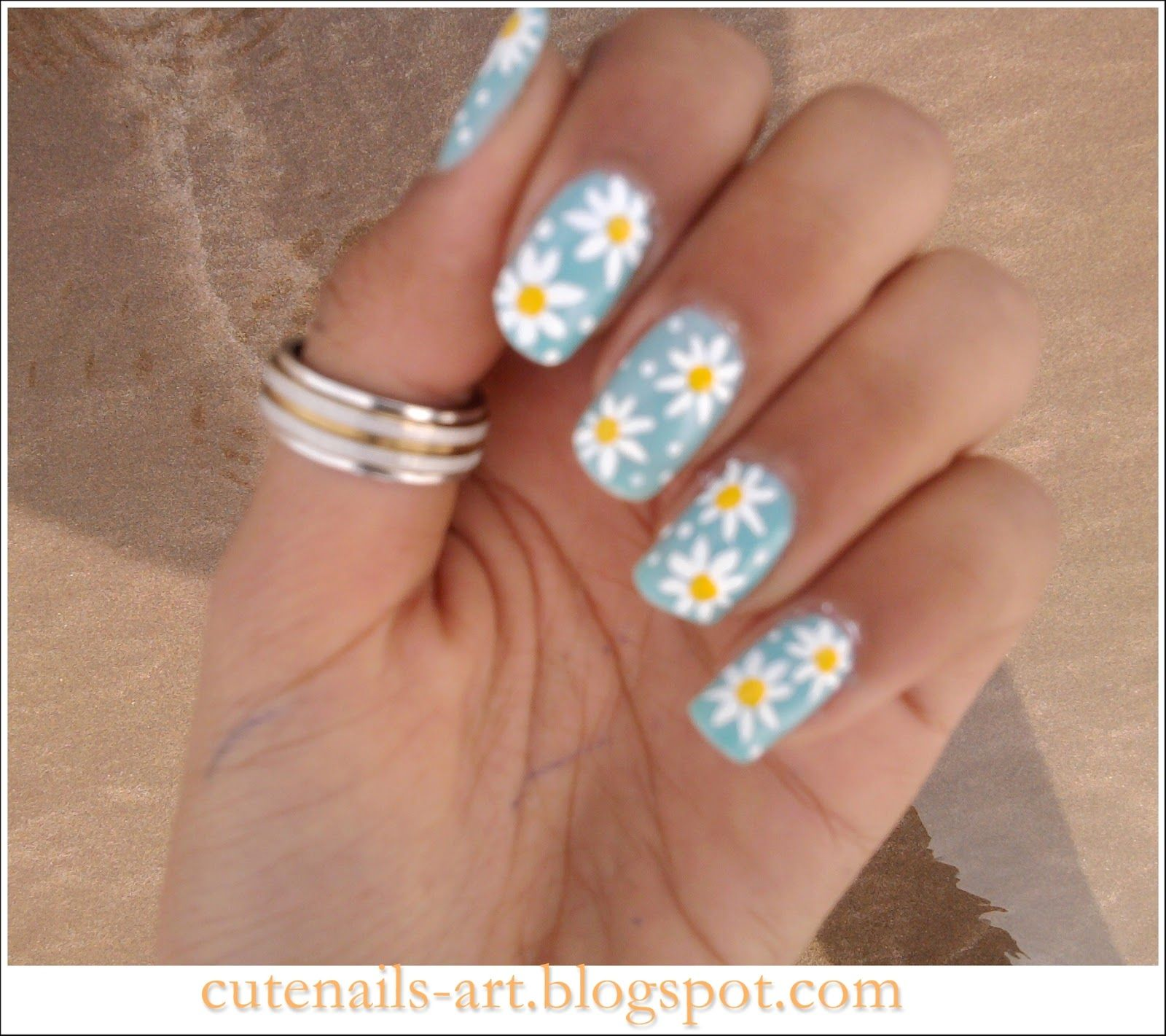 Cute daisy nails , easy to do with regular design brush and ...