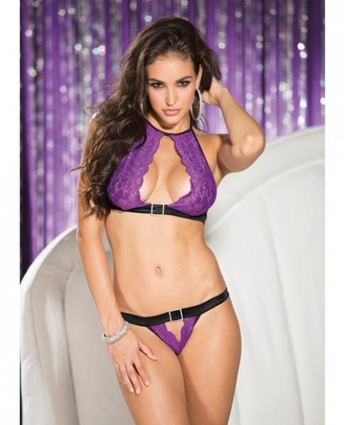 e4d338e04425 Includes matching open panty from Shirley of Hollywood. Color Black, Purple.  Ladies size large. Bust 37 inches to 40 inches.