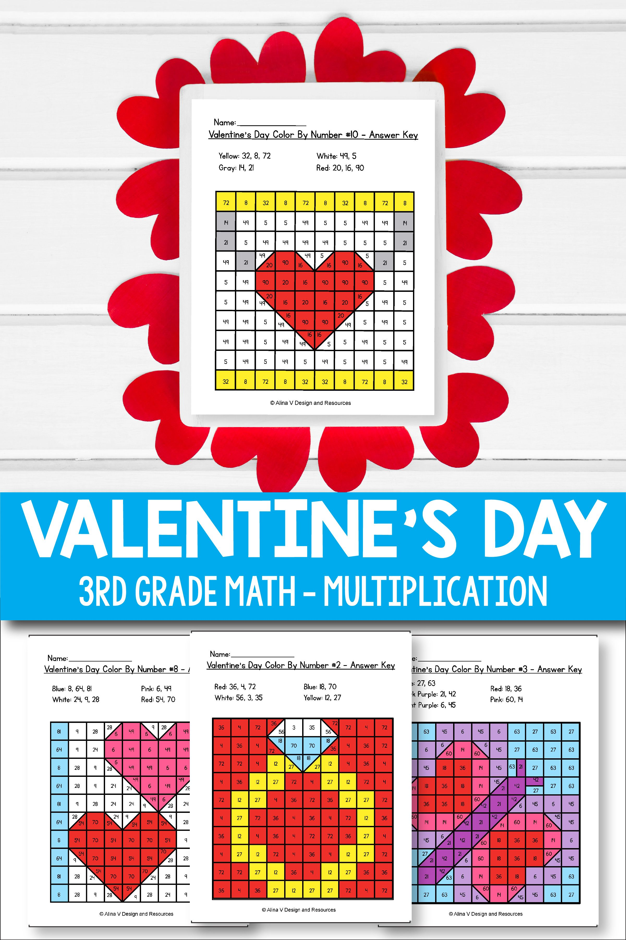 Valentine's Day Multiplication Math Worksheets for 3rd grade kids is fun  with these hundreds chart printabl…   Fun printables [ 3601 x 2401 Pixel ]