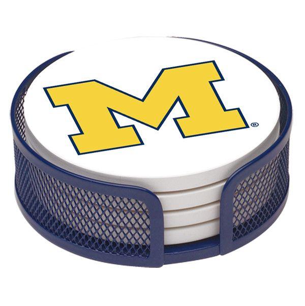 University Of Michigan Collegiate Gift Set 5 Piece Coaster Set With Holder Coaster Gift Set Coaster Set U Of Michigan Football