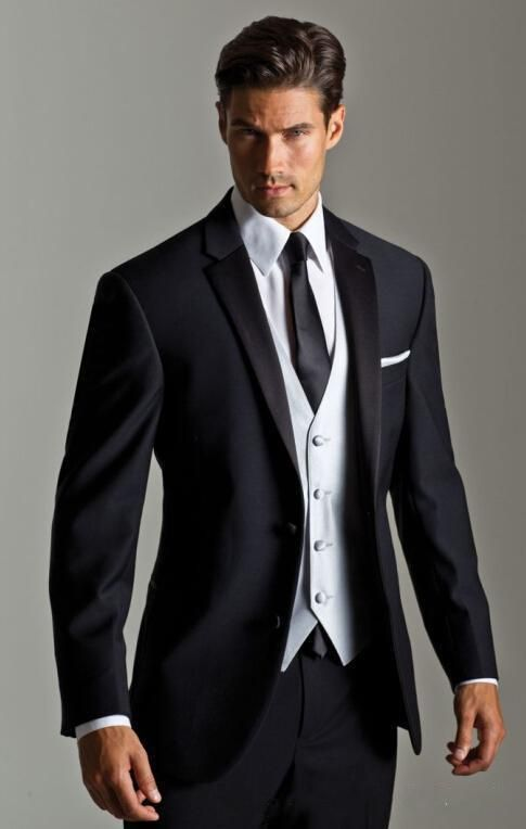Fashion Suits For Men Top Ing New Black Jacket With White Satin Vest Lapel Groom Tuxedos