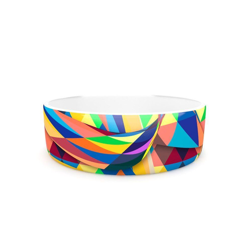 "Danny Ivan ""The Optimist"" Geometric Multicolor Pet Bowl"