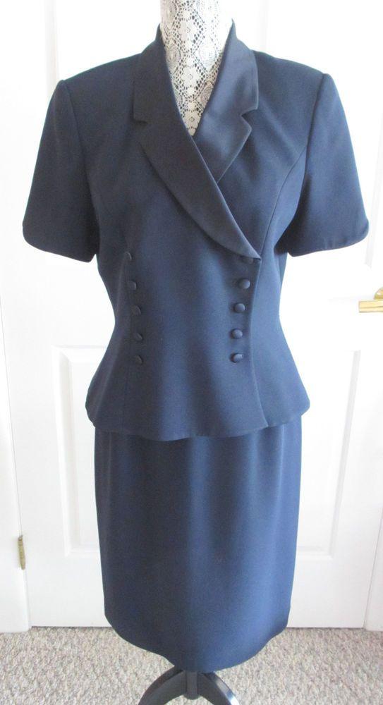 Vintage 80 S Women S Kasper Tuxedo Style Navy Dress Suit Size 10