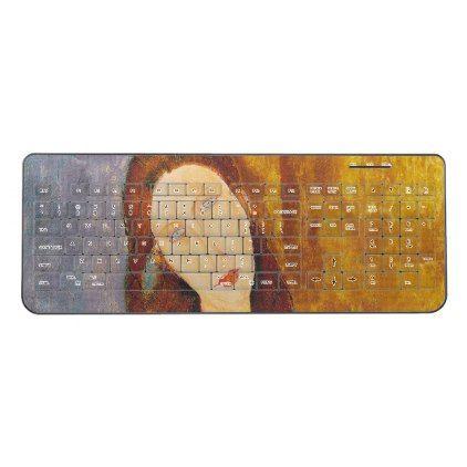 Jeanne Hebuterne portrait by Amedeo Modigliani Wireless Keyboard - portrait gifts cyo diy personalize custom