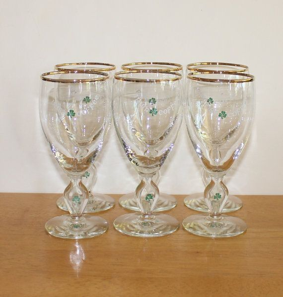 Cute Set Of 6 Vintage Gold Rim Stemmed Irish Coffee Gles