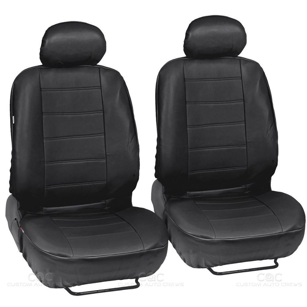 Front Pair Motor Trend Black//Gray Two Tone PU Leather Car Seat Covers Classic Accent Premium Leatherette