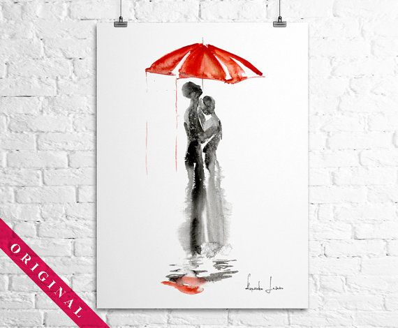 Love Red Umbrella  Original Watercolor by WatercolorOriginal, $80.00 Etsy