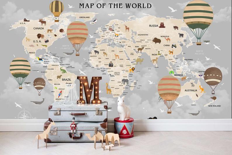 3d Kids Dark Cloud World Map Wallpaper Nursery Wallpaper Removable Wallpaper Peel And Stick Wall Mural Playroom Wallpaper Wall Decor World Map Wallpaper Wallpaper Walls Decor Nursery Wallpaper