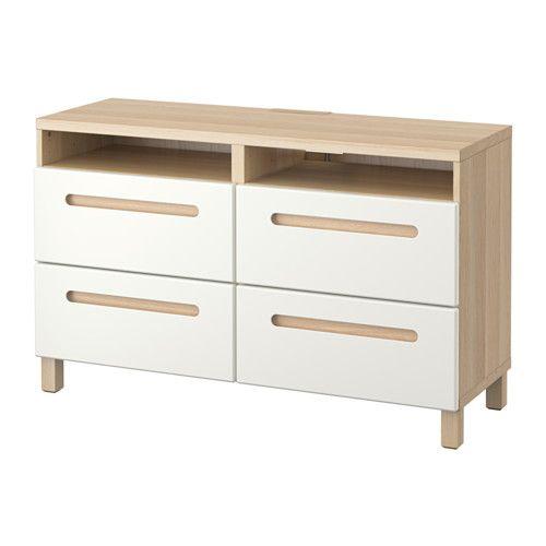 BESTÅ TV bench with drawers - white stained oak effect/Marviken white, drawer runner, soft-closing - IKEA