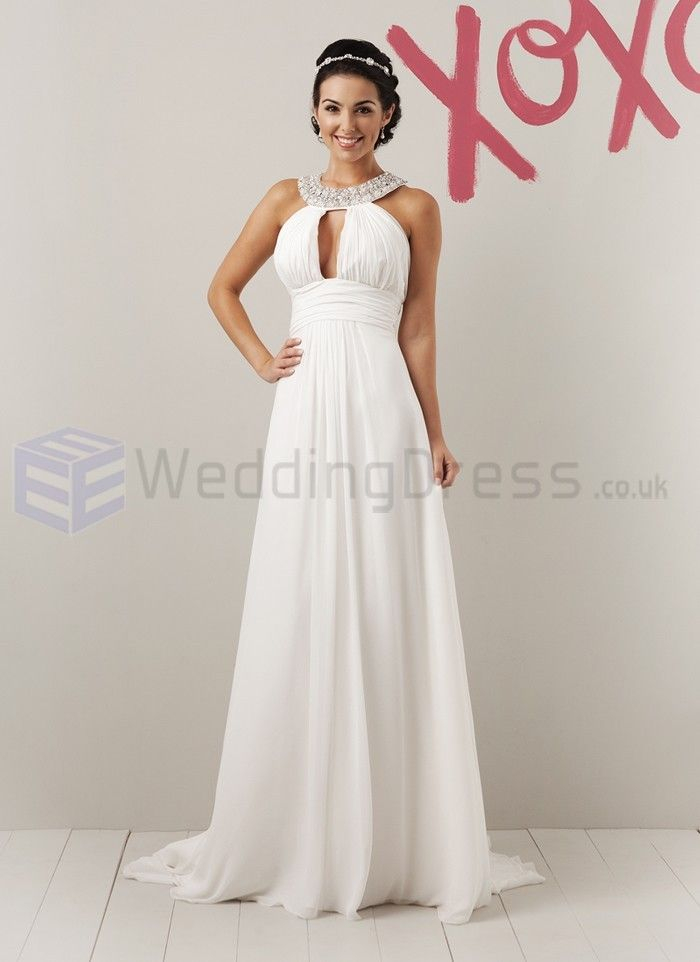 Chiffon a line beaded grecian collar neckline wedding dress beauty chiffon a line beaded grecian collar neckline wedding dress junglespirit Image collections