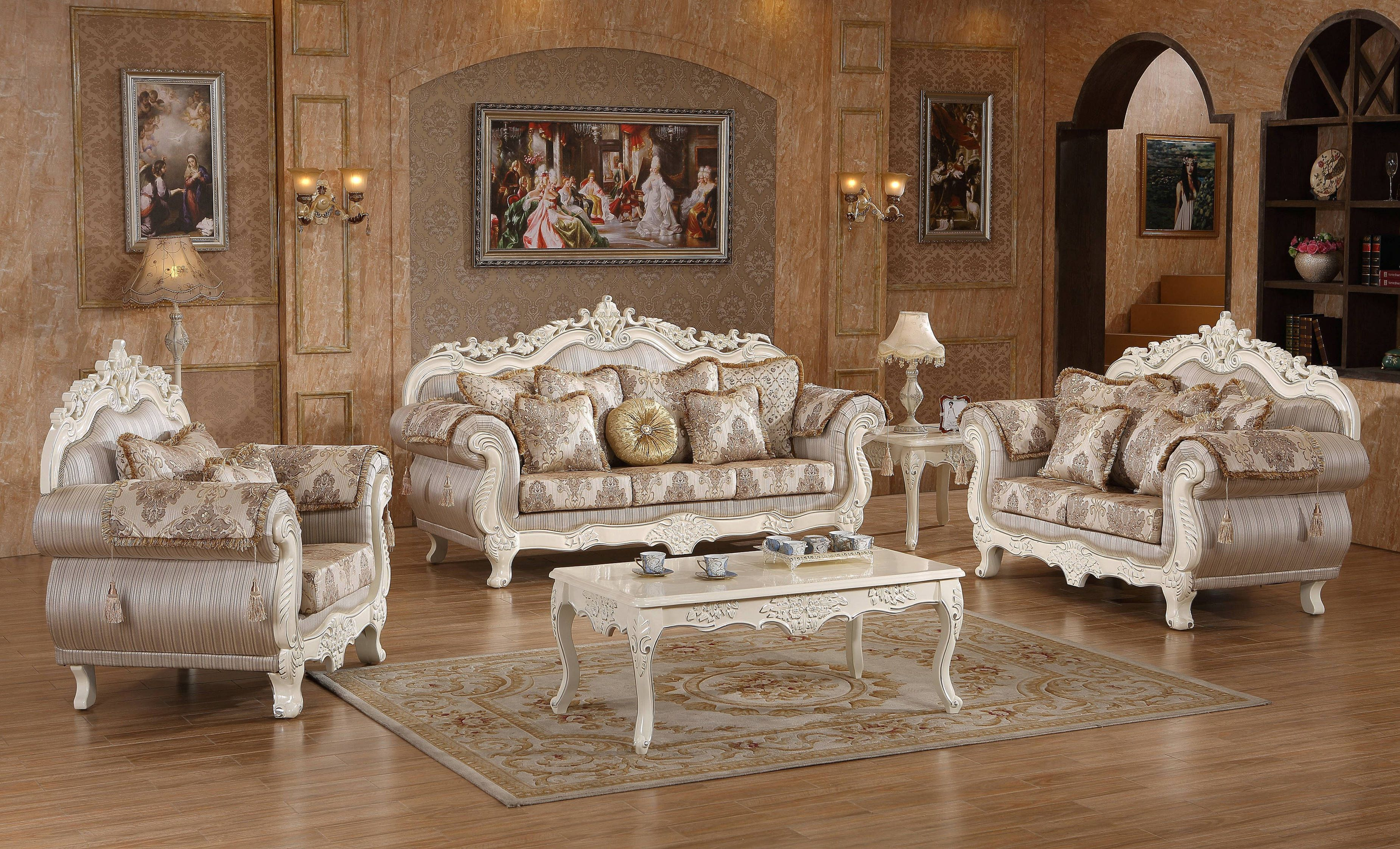 Serena Pearl White Fabric Solid Wood Living Room Set Formal Living Room Furniture Living Room Table Sets White Living Room Decor