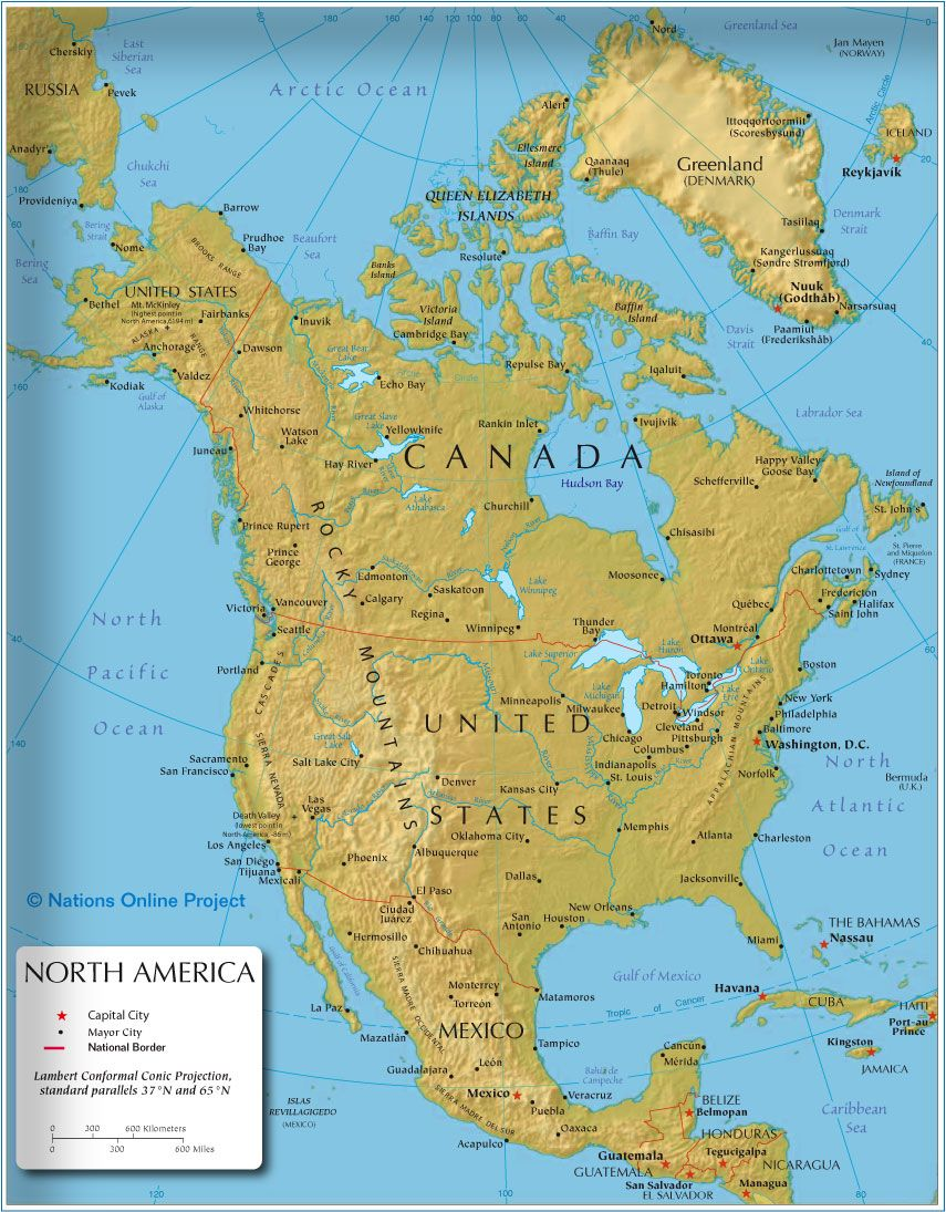 the map shows the states of north america canada usa and mexico with national borders national capitals as well as major cities rivers and lakes