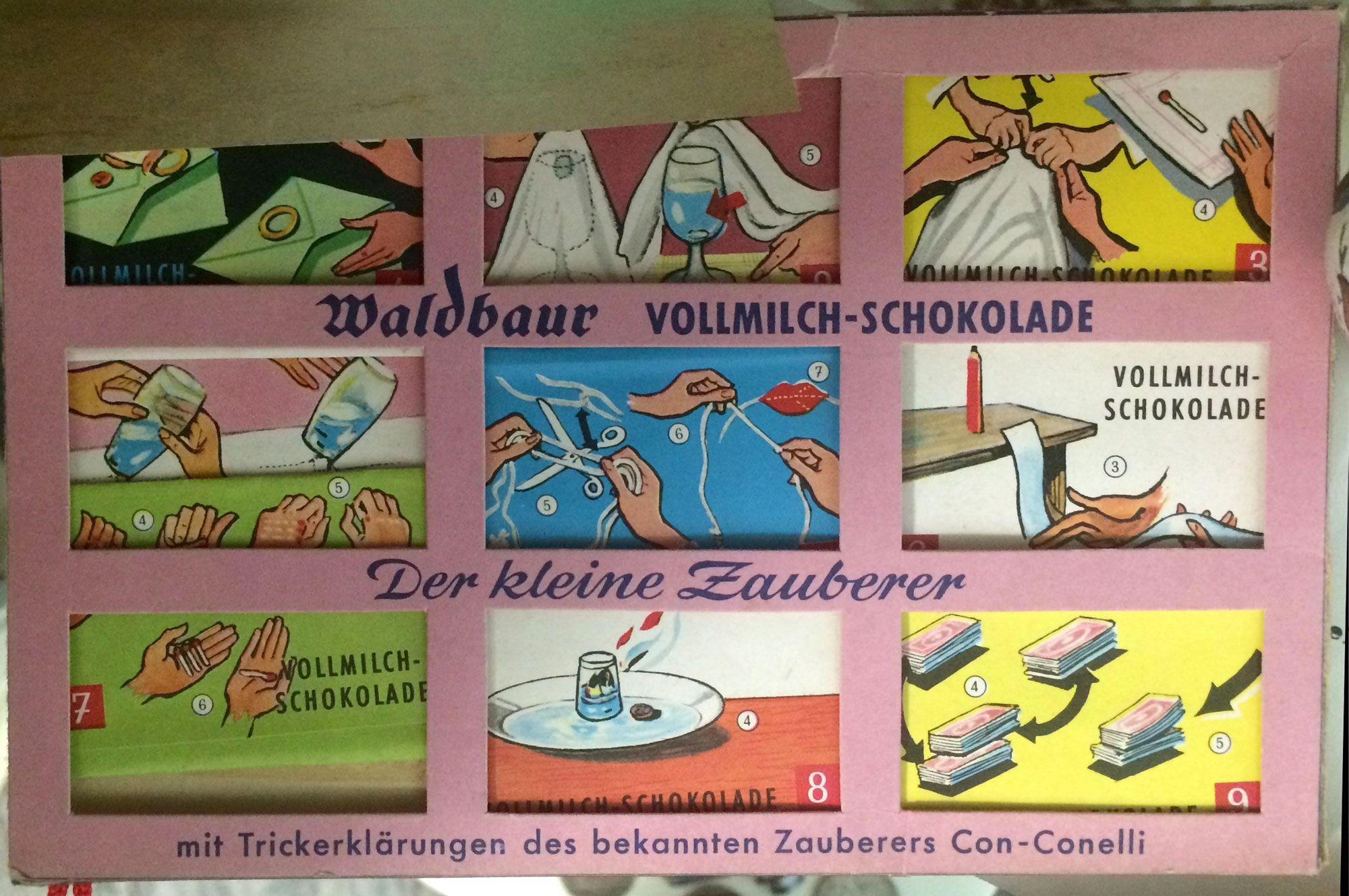 Zauberkunststückerklärungen auf Schokoladenverpackung - hier von der Fa. Waldbaur. Der Zauberkünstler Con Conelli stammte aus Stuttgart und war Mitglied im OZ Stuttgart