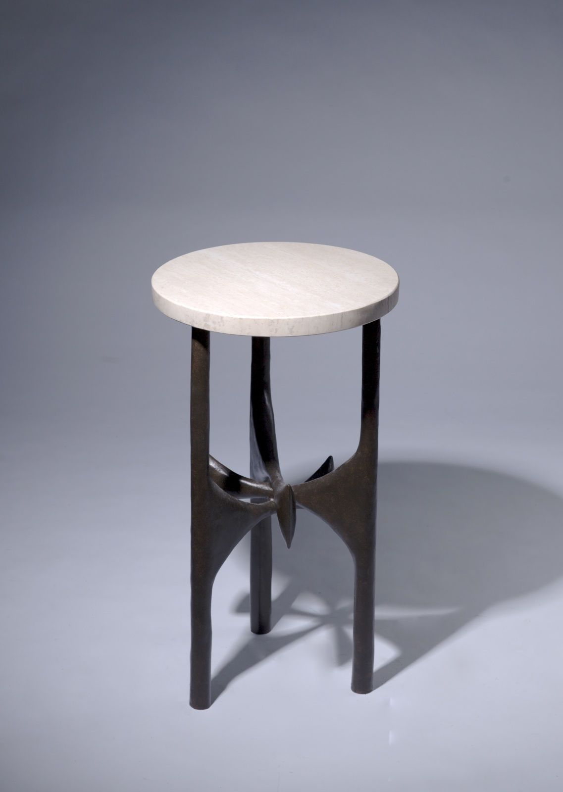Round Wrought Iron U0027daliu0027 Side Table With Marble Top In Dark Brown Bronze  Finish