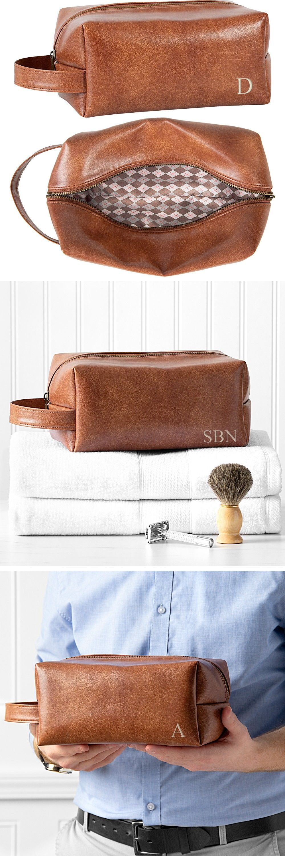 Personalized Brown Vegan Leather Men's Travel Toiletry Bag