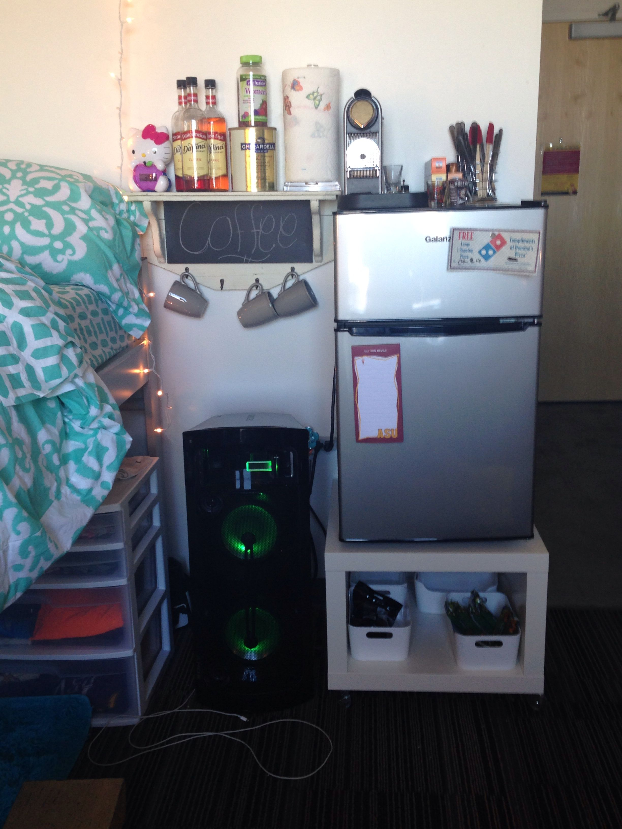 Putting A Table Underneath Your Mini Fridge To Maximize Dorm Space Table From Ikea College Design Organizat College Bound Cool Stuff First Year Of College