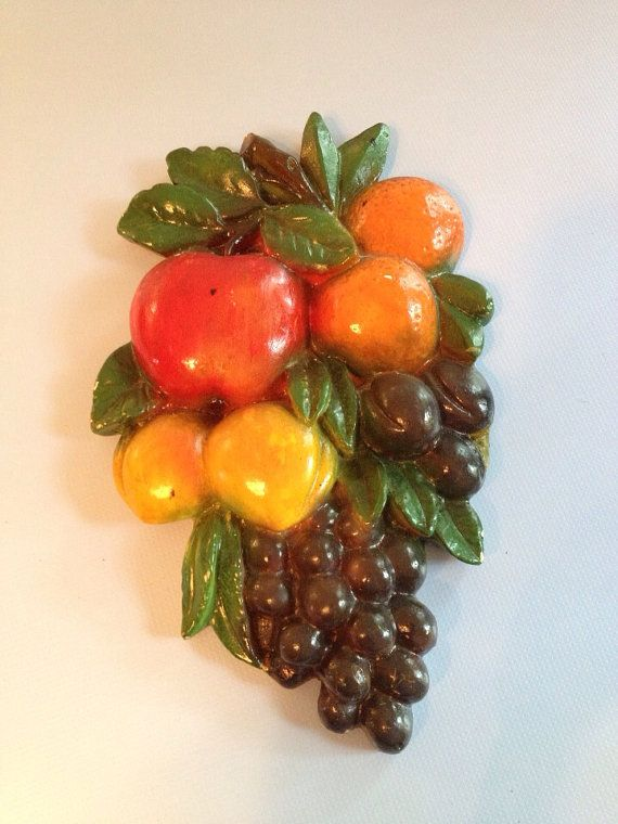 Vintage Chalkware Fruit Wall Decor Plaque Hanging Kitchen On Etsy 10 00