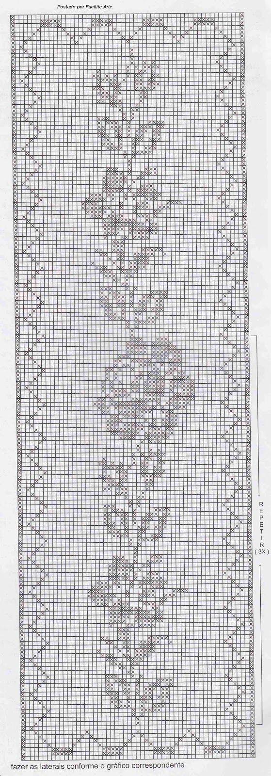 Facilite Sua Arte: Colcha 14 - Crochê filé com motivos em rosas ...