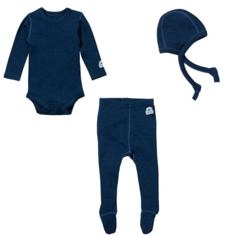 Ella's Wool Baby Base Layer Set w/Hat (Navy Blue, 3-6M) - Merino wool for baby